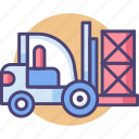 forklift, forklift truck, industrial, transport, transportation, truck, warehouse icon