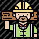builder, carpenter, construction, helmet, wood icon