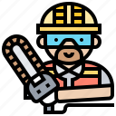 chainsaw, equipment, lumberjack, timer, wood icon