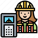 building, checking, engineer, inspection, woman icon