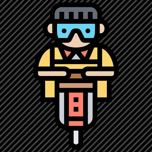 bore, drill, ground, hardware, machine icon