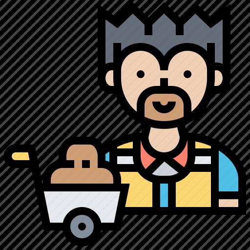 construct, labour, man, wheelbarrow, worker icon
