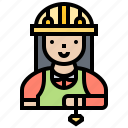 architect, inspector, measurement, tool, woman icon