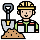 cement, construction, mortar, shovel, worker icon