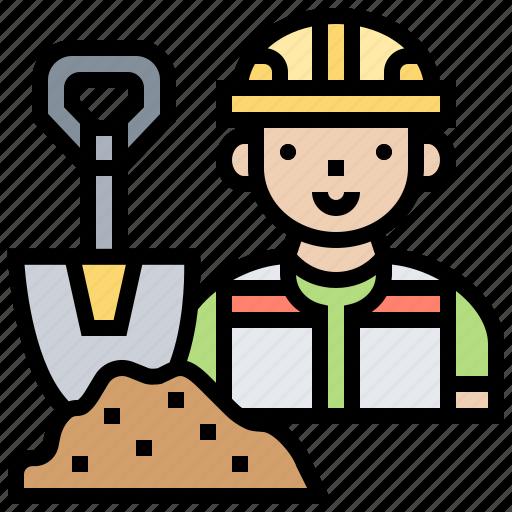 cement, construction, mortar, shovel, worker icon