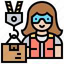 deliver, lifting, package, warehouse, woman icon