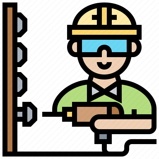 constructor, drill, maintenance, repairman, technician icon