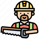 craftsman, saw, sawing, tool, woodwork icon