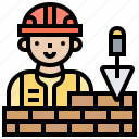 bricks, building, craftsman, plaster, structure icon