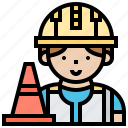 caution, cone, construction, repair, traffic icon