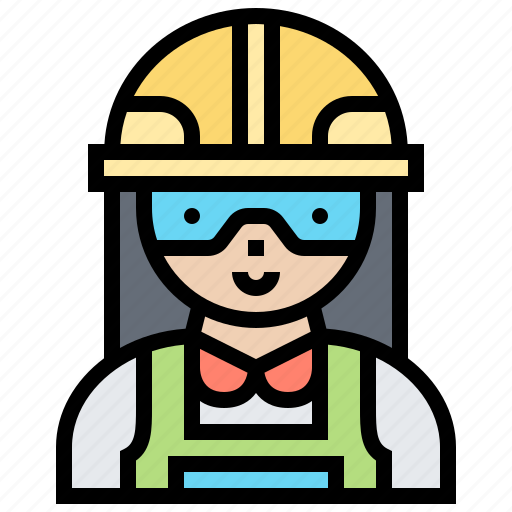 engineer, helmet, protection, woman, worker icon