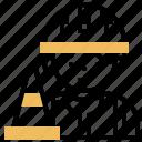 caution, cone, construction, repair, traffic icon