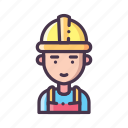 builder, construction, helm, repairman, safety, vest, worker icon