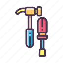 construction, hammer, repair, repairman, screwdriver, tools, utility icon
