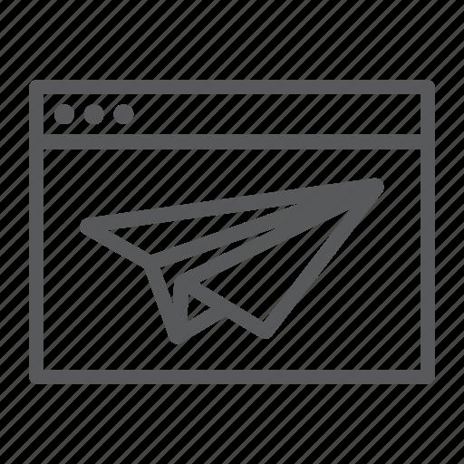 Browser, development, landing, page, paperplane, website icon - Download on Iconfinder