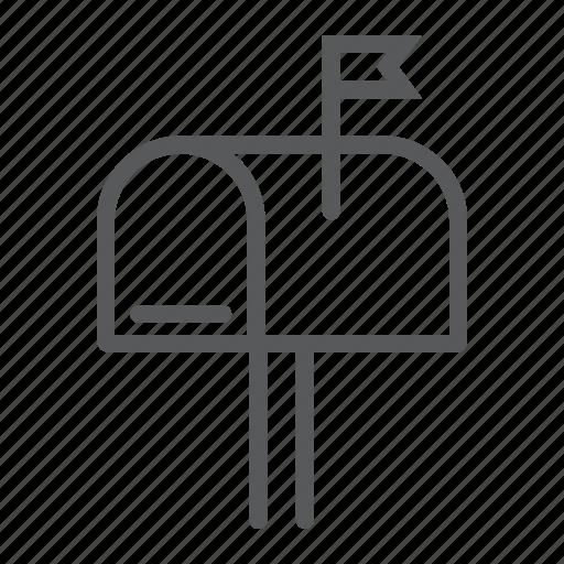 box, envelope, flag, letter, mail, mailbox, post icon