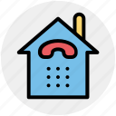 building, call service, connection, home, house, receiver, telephone icon