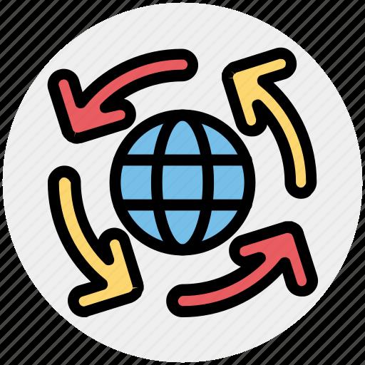 arrow, arrows, global, globe tour, world globe, world tour icon