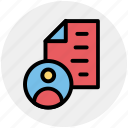 author, document, file, page, paper, sheet, user icon