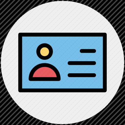 address card, card, employee card, id card, information, user card icon