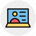 internet, laptop, screen, talk, user, video call icon