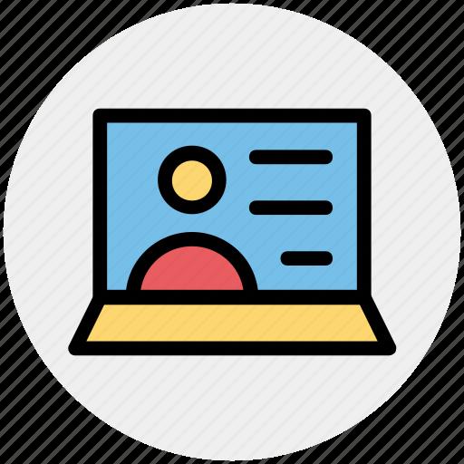 internet, laptop, screen, talk, user, video call icon