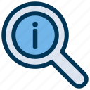 info, information, search icon