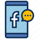contact, facebook, messenger, phone, smartphone, socialmedia icon