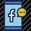 contact, facebook, messenger, phone, smartphone, socialmedia icon