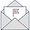 flag mail, important mail, letter, mail, spam mail icon