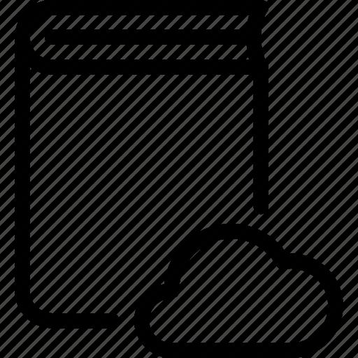 book, cloud, content, data, storage icon