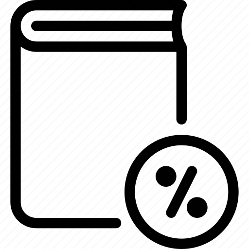 book, content, discount, percent, sales icon
