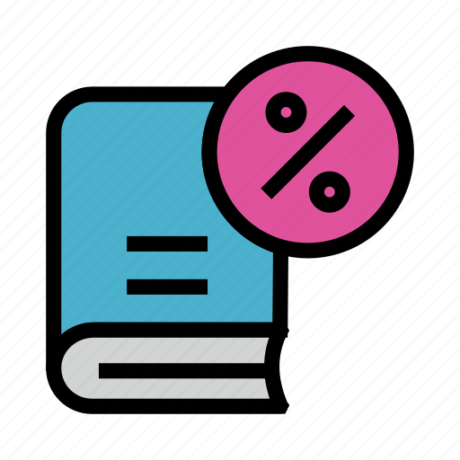 book, content, education, library, percentage icon