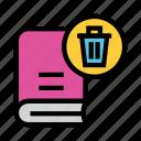 book, education, trash, remove, delete icon