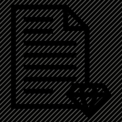 diamond, document, file, page, paper icon