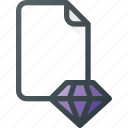 content, diamond, file, quality icon