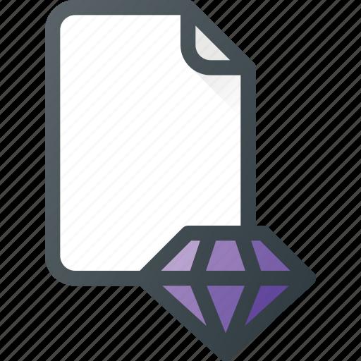 content, diamond, file, quality icon