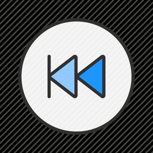 back, backward, previous, rewind icon