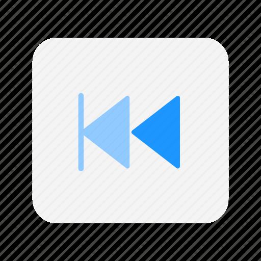 back, navigate, rewind, rewind button icon