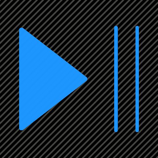 arrow, next, play, play button icon