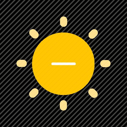 brightness, decrease brightness, light, sun icon