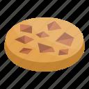 biscuit, cartoon, chocolate, cookie, food, isometric, piece