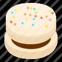 bake, biscuit, cartoon, chocolate, cookie, isometric, white