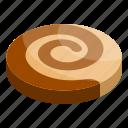 appetizer, aromatic, bake, biscuit, cartoon, isometric, swirl