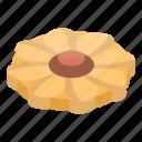 bakery, biscuit, cartoon, cookie, flower, food, isometric
