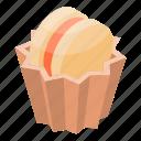 bakery, biscuit, cake, cartoon, chocolate, cupcake, isometric