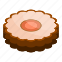 cartoon, chocolate, cookie, dessert, food, isometric, jelly