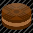 biscuit, cartoon, chocolate, cream, dessert, isometric, snack