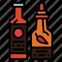 bottles, condiment, liquid, sauces icon