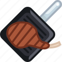 cooking, food, grill, meat, pan, rib, yumminky icon